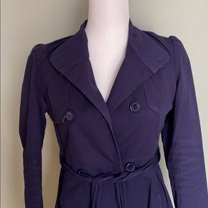 Anthropologie Tulle Long Trench Coat Navy XS